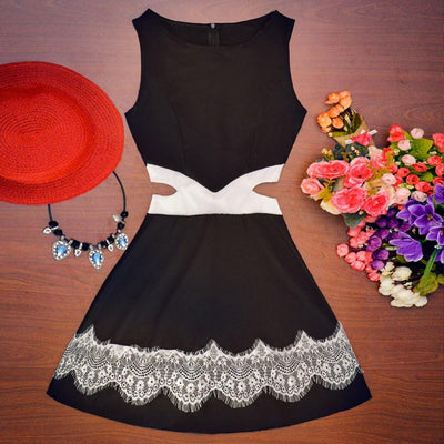 Stylish Women Sleeveless Lace Waist With Holes Dresses Casual A-line Floral Print Mini Dress