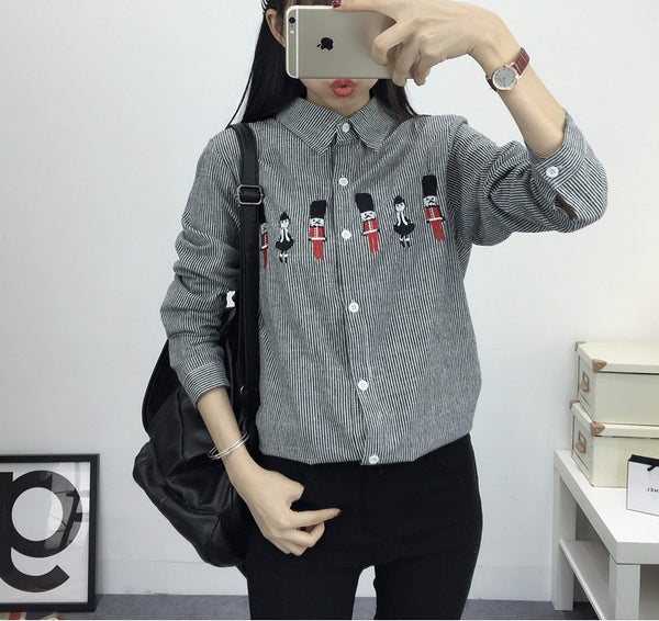New Women's Shirt Blouse Cat Embroidery Long Sleeve Women Shirt's Casual Tops Size M-XL