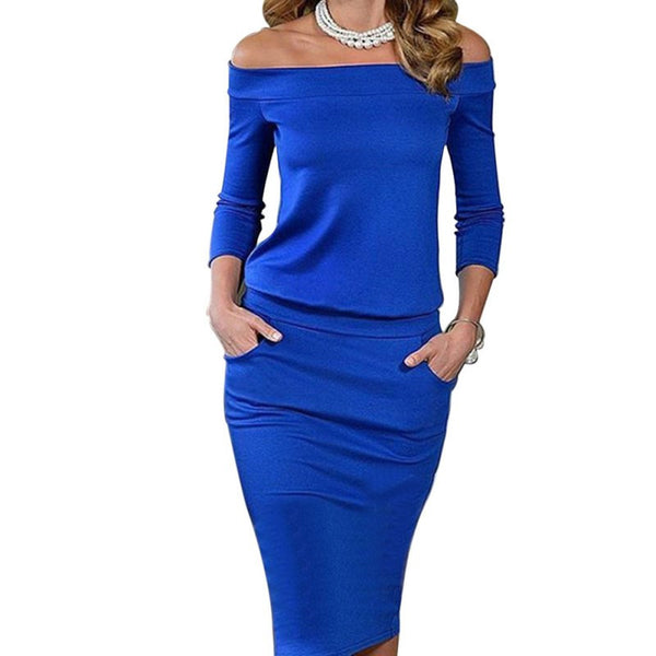 Online discount shop Australia - Fashion Summer Women Sexy Bodycon Dress Three Quarter Sleeve Slash Neck Dresses Casual Party Night Blue Black Club Clothing