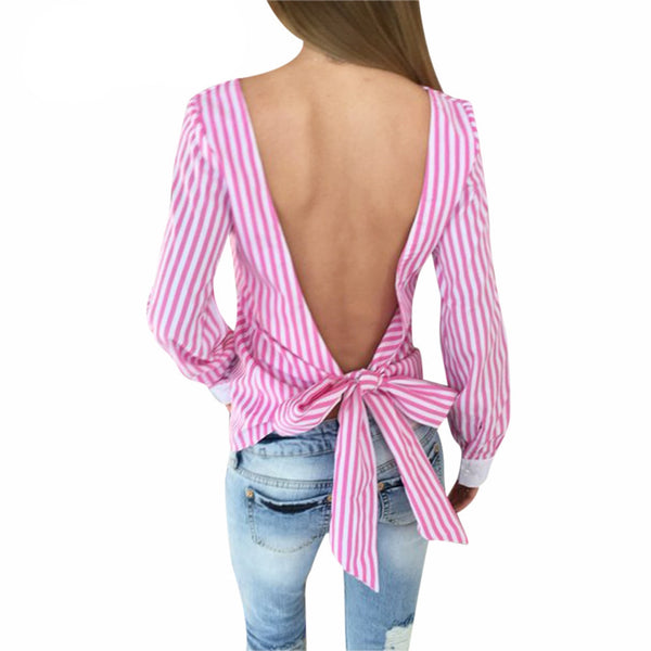 Plus Size Women Sexy Bowknot Backless Striped Blouses Shirts Full Sleeve Hollow Out Women Bandage Female  New Tops