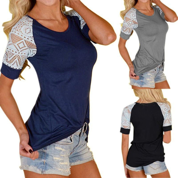 Women Lace Stitching Slim T-shirt Casual Hollow Short Sleeve O neck Tops Tee Shirt Plus Size