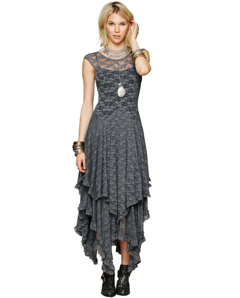 New Summer Luxury Brand Runway Women Sexy Black Lace Dress Sexy Floral Daisy Embroidery Midi Mid-Calf Dresses Italian