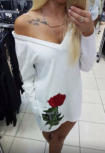 New Style Casual Womens Deep V-neck Autumn Embroidery Party Dresses Fall Sexy Vintage Long Sleeve Casual Dress