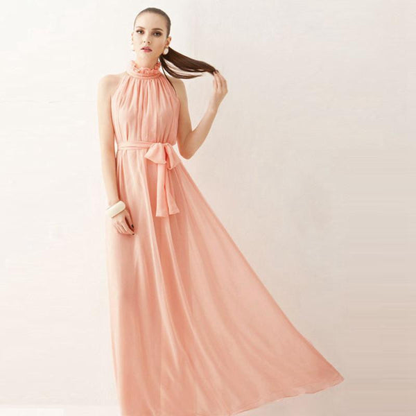 Women Dress Elegant Bohemian Beach Summer Dress Ultra Perfect Fairy Hang-Neck Maxi Dress Chiffon Halter Long Dress