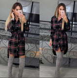 Online discount shop Australia - Autumn Dress Women Irregular Plaid Shirt Dresses Sexy Long Sleeve Turn Down Collar Office Casual Dress LJ5932C