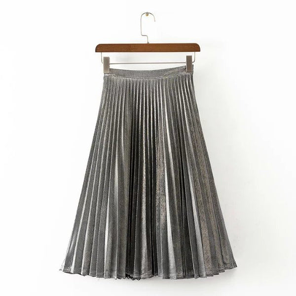 New metal color pleated green blue red women long skirt