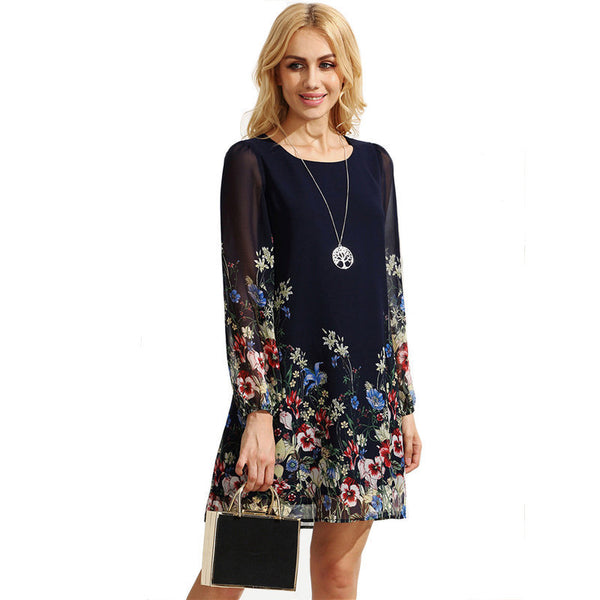 Online discount shop Australia - Casual Short Autumn Dresses For Women Multicolor Round Neck Long Sleeve Floral Print Straight Chiffon Dress