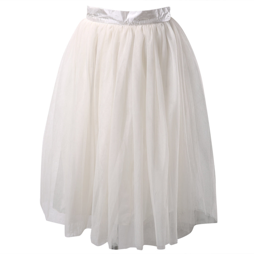 7992ee070c Puff Women Chiffon Tulle Skirt White Black High waist Midi Knee ...