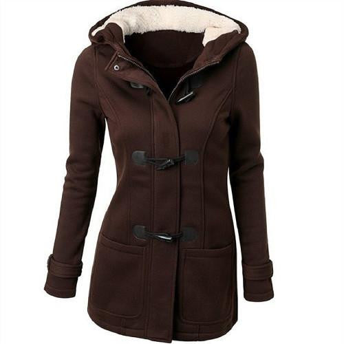 Women 's Hooded Woolen Classic Hornskin Buckle Jacket Coat Solid Color Casual Female Outwear Coat