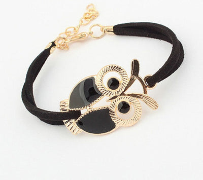 Online discount shop Australia - Diomedes High quality Korean Fashion Womens Girls Vintage Owl Decoration Faux Leather Bracelets Jun17