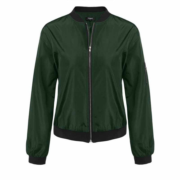 Online discount shop Australia - Army Green Bomber Jacket Women Basic Coats Celeb Bombers Stand Collar Zip Up Short Black  Coat Jackets Chaquetas Mujer XL