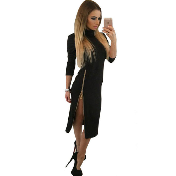 Online discount shop Australia - dress fashion Zipper open fork turtleneck women dresses Long sleeve bodycon long dress