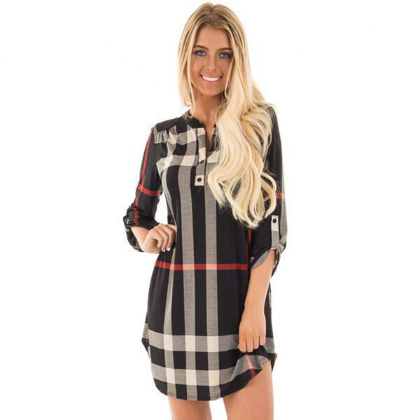 Plaid WomenDress Sexy V-Neck Vintage Office Dress Party Dresses Causal Mini Dress Plus Size Women Clothing LJ5569T