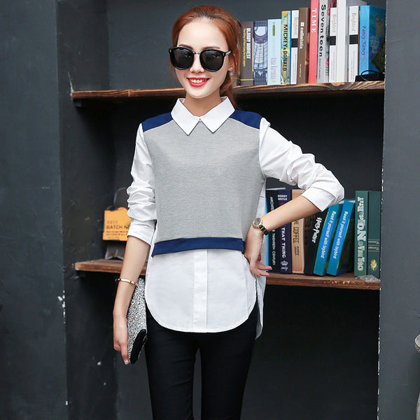 Online discount shop Australia - kimono elegant Women fake two-piece blouse and tops Long sleeve peter pan collar shirt female