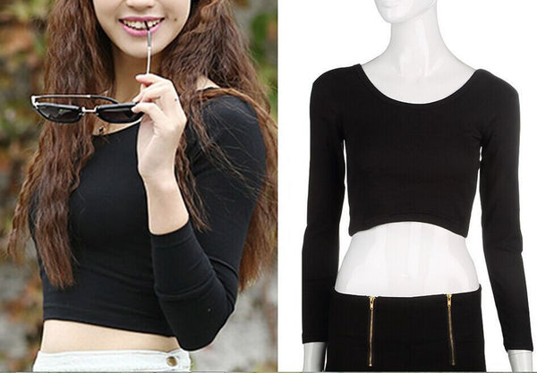 Online discount shop Australia - Fashion Womens Cut-Out Crooped Tops Long Sleeve T-shirt Clubwear Cropped Top Drop
