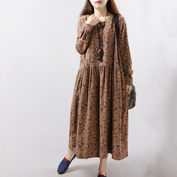 Women Dresses Vintage Print Casual Long Sleeve Cotton Linen Maxi Dress Swing Floral Big Size Dress