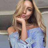 New Fashion Off Shoulder Blouse Sexy Slash neck Long Sleeve Bow Blouses And Shirts Women Loose Tops Plus size