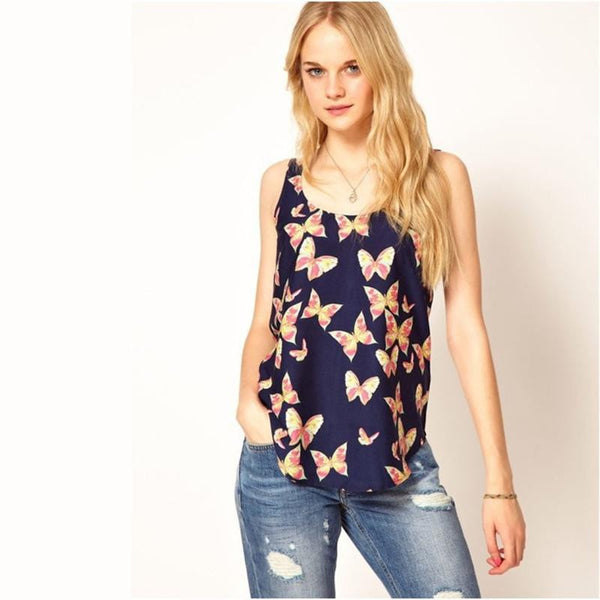 Newest Women'S  Chiffon Tops Butterfly Print Chiffon Shirt Sweet Girls Vestido Plus Size Women Clothing