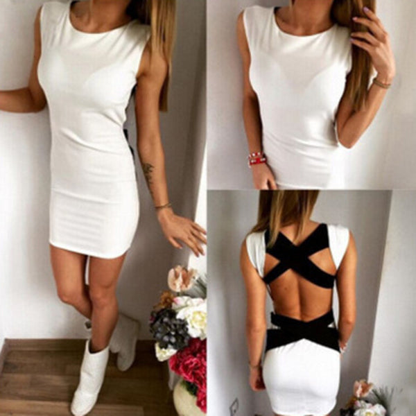 Online discount shop Australia - Fashion style White Knitted Cross Bandage Sleeveless Mini Dress Backless Short Bodycon Night Dress