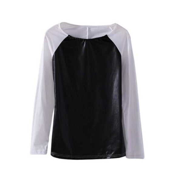 PU Leather Women Long Sleeve Crew Neck T-Shirt Slim Fit Tops