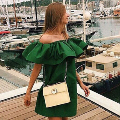 Online discount shop Australia - Fashion women Summer strapless Sexy Slash Ruffled Strapless Backless the beach style Loose Solid color dress