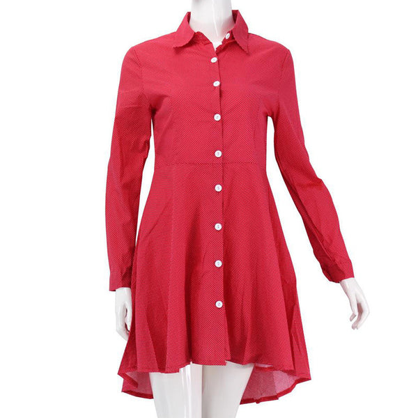 New Preppy Style Women Summer Autumn Dress Sexy 3/4 Sleeve Red Plaid Print Office Shirt Cardigan Dresses Work Wear DR5985