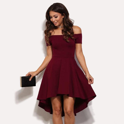 Sexy ball gown solid red sleeveless mini off the shoulder slash collar high waist women party dress