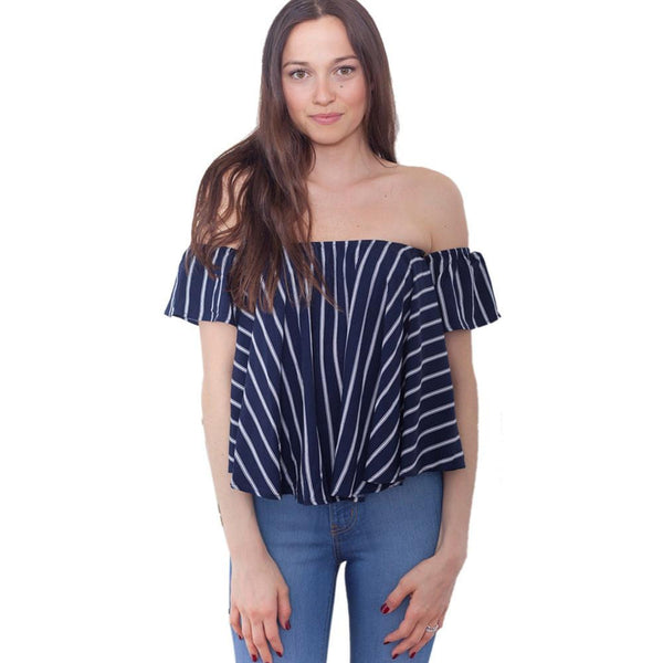 Women Fashion Striped Sexy Off Shoulder Tops Ruffles Sleeve Women Blouses Slash Neck Shirts