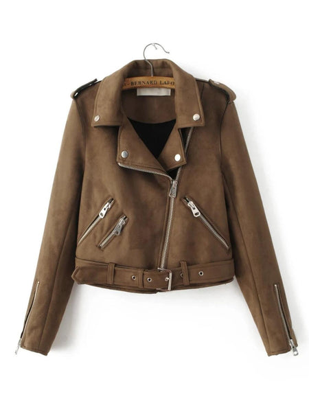 Online discount shop Australia - Bella Philosophy Women new zipper turn-down collar faux suede biker jacket coat khaki gray