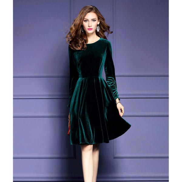 Online discount shop Australia - Dresses Evening Velvet Dress For Women Elegant Vintage Sexy Dresses Party Night Club