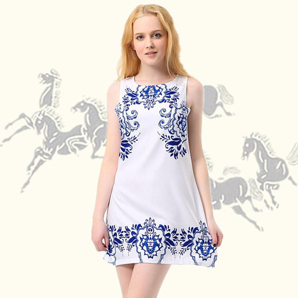 Women Sleeveless Blue And White Porcelain Print Chic Mini Dress Gift KR2