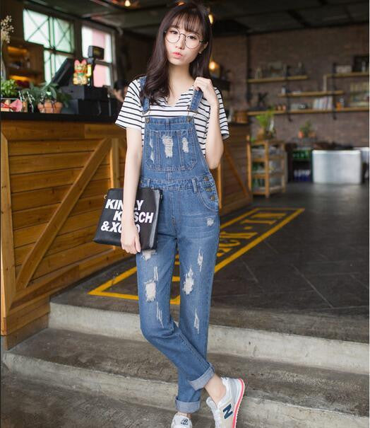 9b888f28743 Womens Jumpsuit Denim Overalls Casual Ripped Hole Loose Pants Ripped  Pockets Jeans Coverall Casual Retro