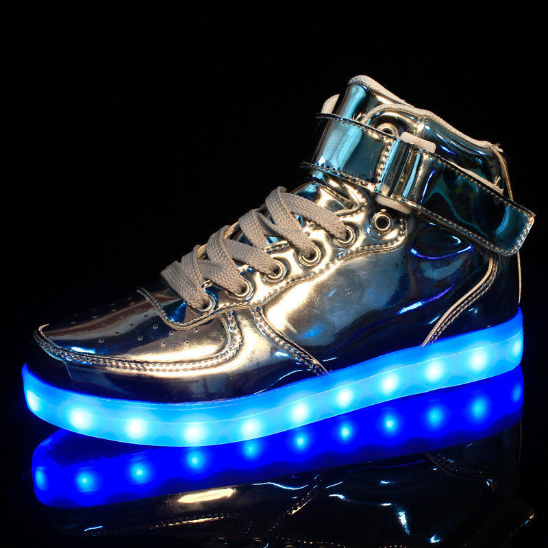Lights up led luminous shoes high top glowing casual shoes with new simulation sole charge for men adults neon basketsilvery Ha