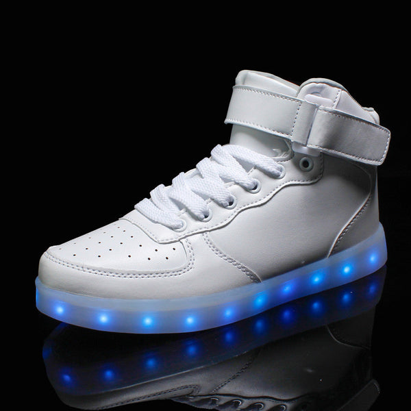 Online discount shop Australia - Lights up led luminous shoes high top glowing casual shoes with new simulation sole charge for men adults neon basket