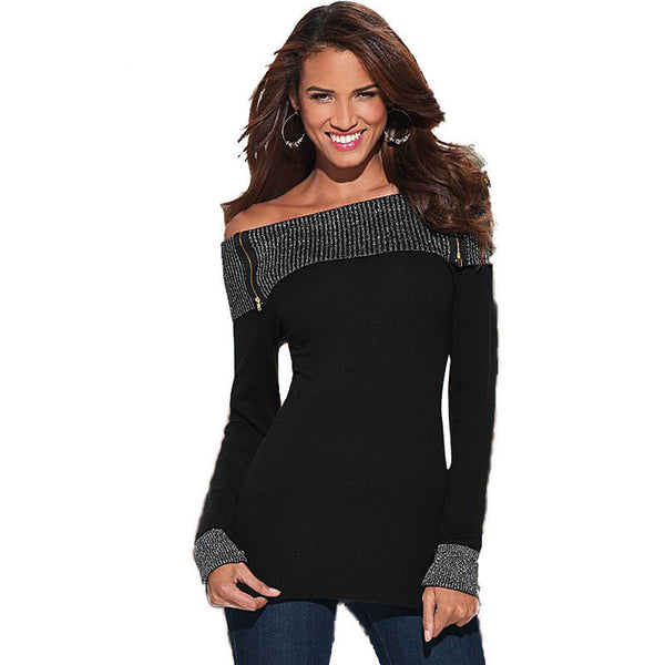 Online discount shop Australia - Fashion Long Sleeve Slash Neck T Shirt Women   New Black Sexy Off Shoulder Tops Silver line Patchwork Plus Size Tops