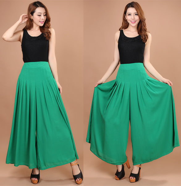 wide leg pants female bohemia wide leg pants casual trousers skirt formal loose ol straight pants women