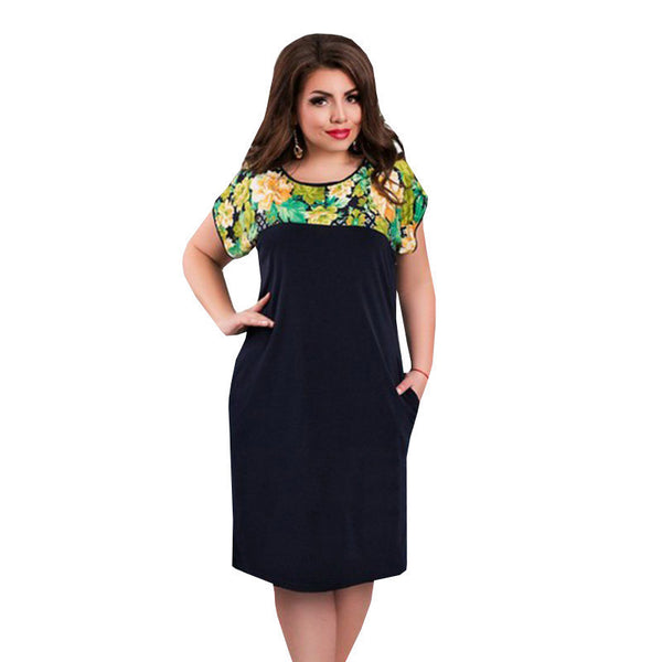 Online discount shop Australia - Dress women new fashion plus size dress Patchwork Knee Length Short Sleeves Batwing Straight New Dress O-Neck Summer