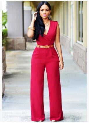 Sexy Jumpsuits Ladies Loose Slim Casual Party Overalls Women Sleeveless Nightclub Rompers With belt 15-25 arrive