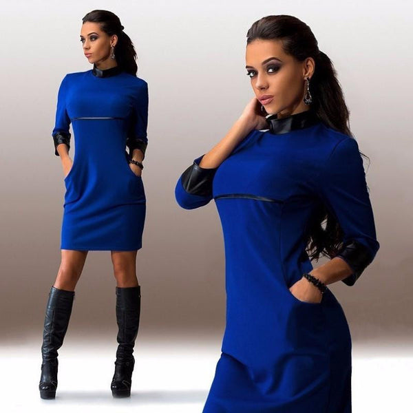 Women Autumn Cool Dresses Three Quater Sleeve PU Leather Patchwork Clubwear Dress Slim Casual Vestidos Robe XS-XL