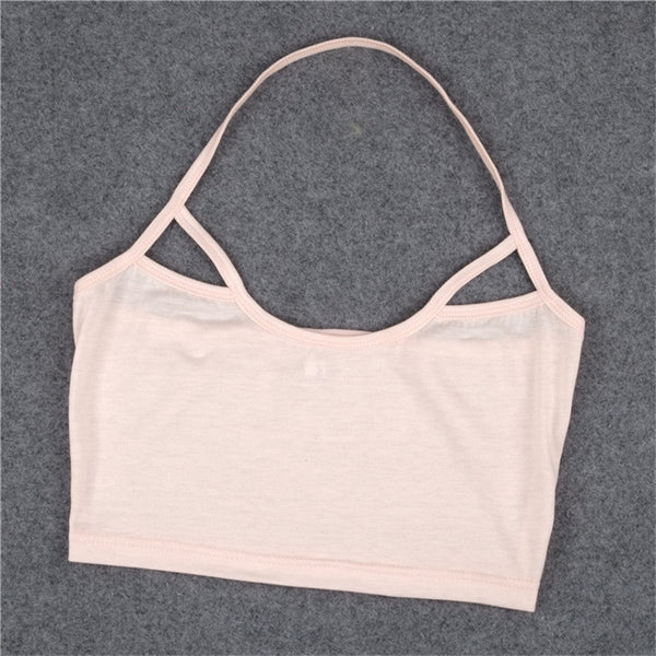 Fashion casual pink color hollow out halter camis Camisole Bralet Bustier Cropped Tops t-shirts
