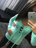 Sexy Deep V Neck Bandage Lace Up T-shirt Fashion Trending Women Party Tops Tees Long Sleeve Slim Tshirts LX068