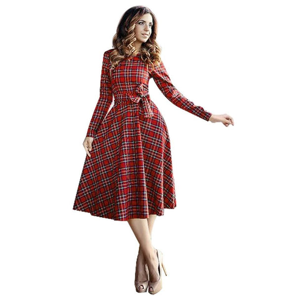 Women Dress Long Sleeve Knee Length Midi Dress Slim Bodycon Red Plaid Dress Women Dresses Office Vestidos