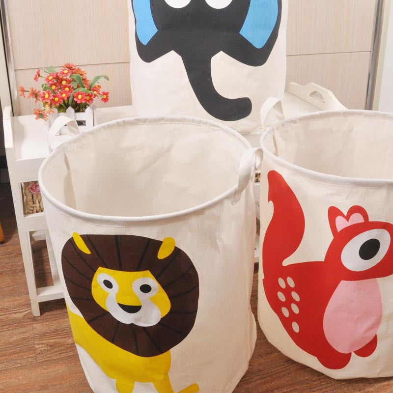 Cartoon Canvas Cotton Linen Fabric Clothing Barrels Laundry Storage Basket/Bags for Toys/Book/towelsyellow03a