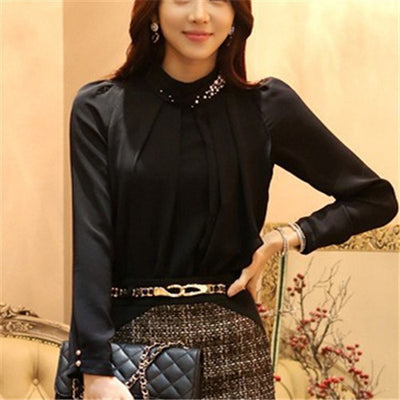 New Fashion Long Sleeve Chiffon Blouse Women Stand Neck With Diamonds Solid Plus Size Casual Tops