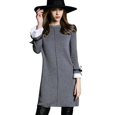 Online discount shop Australia - Autumn Women Dress High quality Butterfly sleeve Knitted Sweater Black&Gray Casual A-line Dress