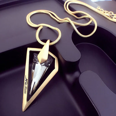 Online discount shop Australia - Lemon Value Vintage Punk Triangle Crystal Glass Pendants Fashion Charms Maxi Gold Plated Long Necklaces Women Jewelry Gift TP043