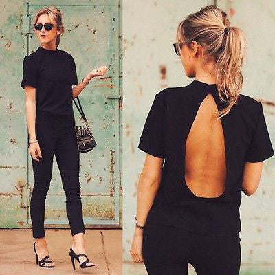 New Cute Women Blouse Fashion black Open Back Sexy tops short Sleeve Shirt Women Clothes