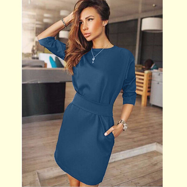 Online discount shop Australia - Autumn Dress Women Fashion Casual Mini Dress Solid Color Short Sleeve O-neck Women Dress Two Side Pocket Black Dresses