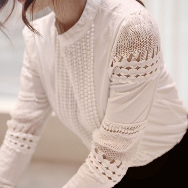 Online discount shop Australia - Fashion Elegant White Lace Crochet Hollow Out Blouse Women Cotton Blend Shirt Puff Sleeve Tops Bluse camisa feminina T57349