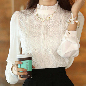 White Lace Blouse Chiffon Women Blouses   Clothes Stand Long Sleeve Ladies Office Shirts